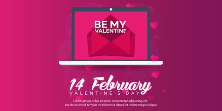 envelops: Happy Valentines Day. Laptop with envelops. Vector flat illustration