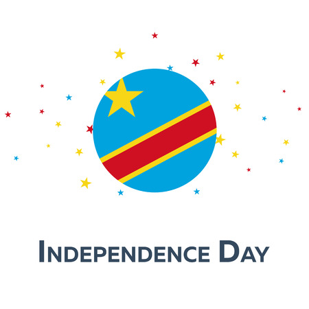 declaration of independence: Independence day of Democratic Republic of the Congo. Patriotic Banner. Vector illustration