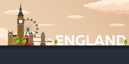 london tower bridge: Travel banner to England. Vector flat illustration Illustration