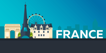 patio set: Travel banner to France. Vector flat illustration