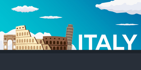 Travel banner to Italy. Vector flat illustration