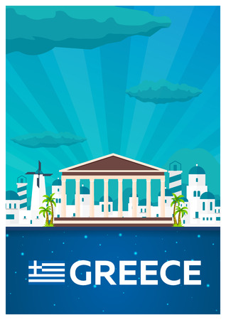 Travel poster to Greece. Vector flat illustration
