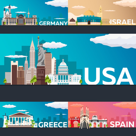 Big Collection of Travel banners to country. Vecor Flat illustration
