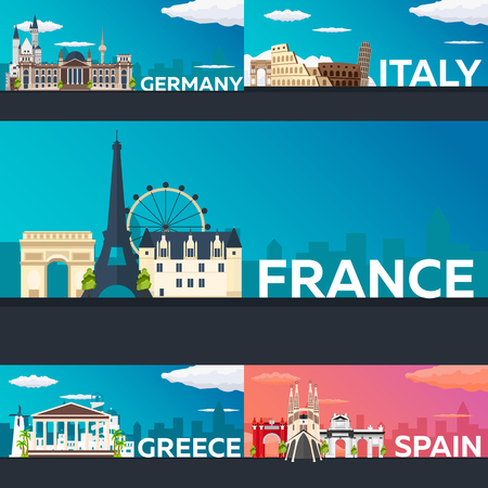 Big Collection of Travel banners to the Europe. Schengen. Vecor Flat illustration