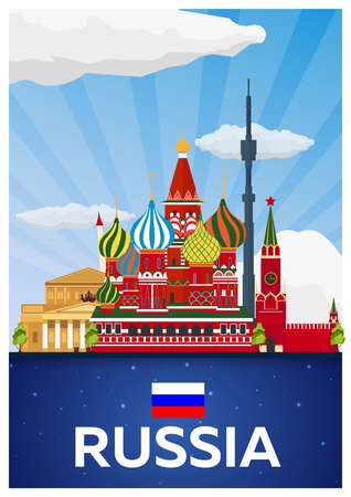 matreshka: Travel poster to Russia. Vector flat illustration Illustration