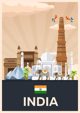 Travel poster to India. Vector flat illustration Ilustração