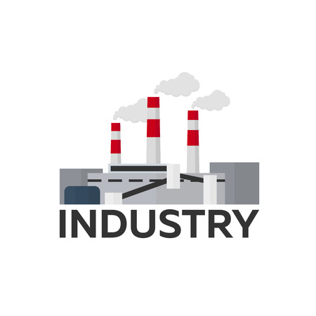 manufactory: Industrial building factory. Manufacturing. Vector flat illustration