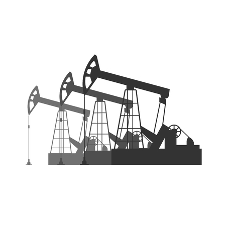 Oil industry. Tower oil exploration Vector flat illustration