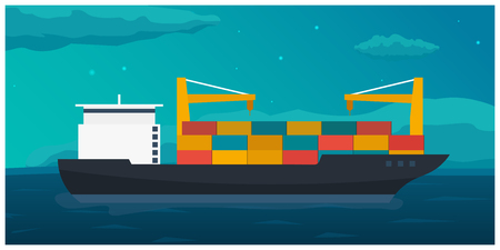 Sea transportation logistic. Sea Freight. Maritime shipping. Merchant Marine. Cargo ship. Vector flat illustration
