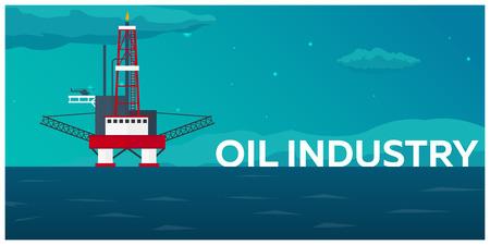 石油プラットフォーム。海。石油探査ベクトル フラット図