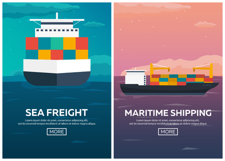 shipbuilder: Sea transportation logistic. Sea Freight. Maritime shipping. Merchant Marine. Cargo ship. Vector flat illustration