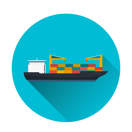Sea transportation logistic. Sea Freight. Maritime shipping. Merchant Marine. Cargo ship. Vector flat illustration