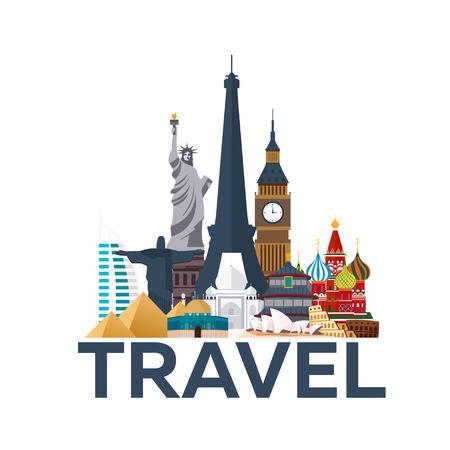 Cartel del viaje. Alrededor del mundo. Vacaciones. Viaje al país. Ilustración de viaje. Moderno vector plana