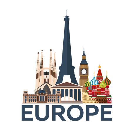 旅行のポスター。ヨーロッパ。休暇。国への旅行。モダンなイラスト フラットを旅行