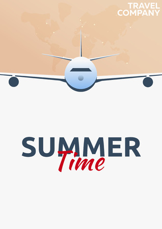 Travel poster. Summer time. Vacation. Trip to country. Travelling illustration. Modern vector flat
