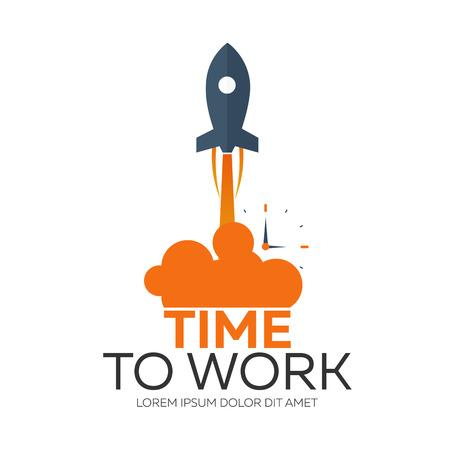 作業する時間。時間管理。時計。ベクトル フラット図