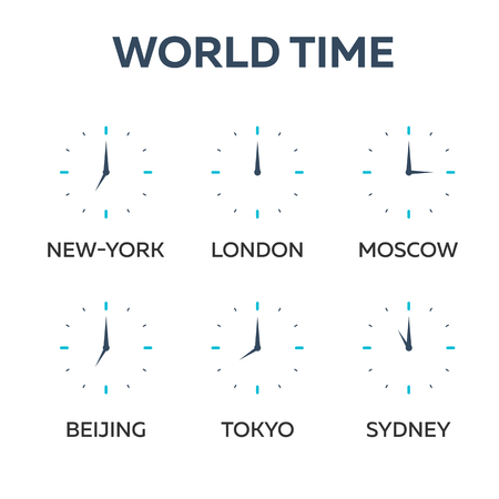zones: World time. Watch. Time zones Vector flat illustration Illustration