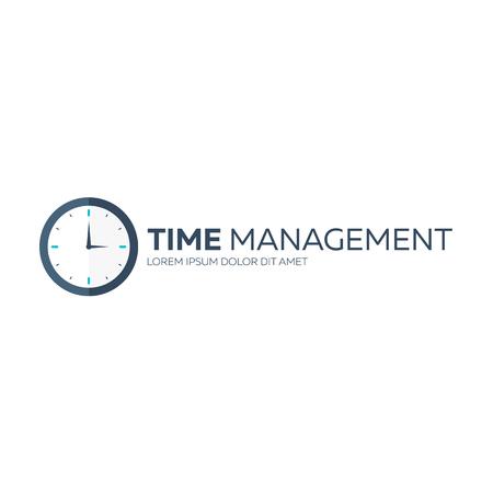 overtime: Time management. Time logo. Vector flat illustration