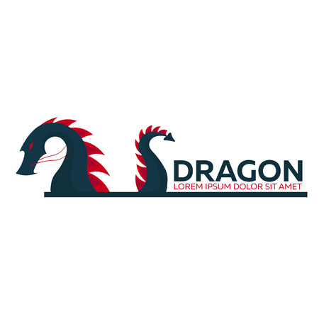 Dragon logo. Chinese dragon. Vector flat illustration Illustration