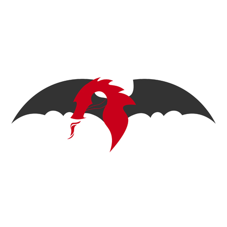 Dragon logo. Chinese dragon. Vector flat illustration Illustration