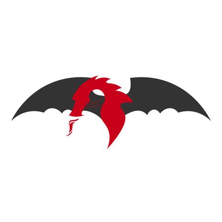 bateau de course: Logo Dragon. Dragon chinois. Vector illustration plate Illustration