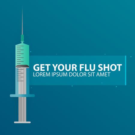 Cure mediche. Siringa per vaccino per iniezione Illustrazione piatta vettoriale Vettoriali