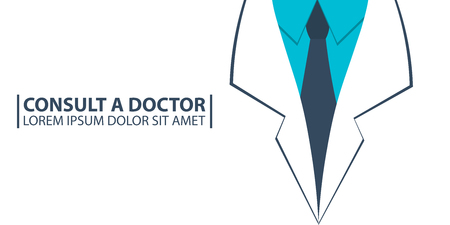 oncologist: Poster Consult a Doctor, Medical care. Medical gown. Vector flat illustration Illustration
