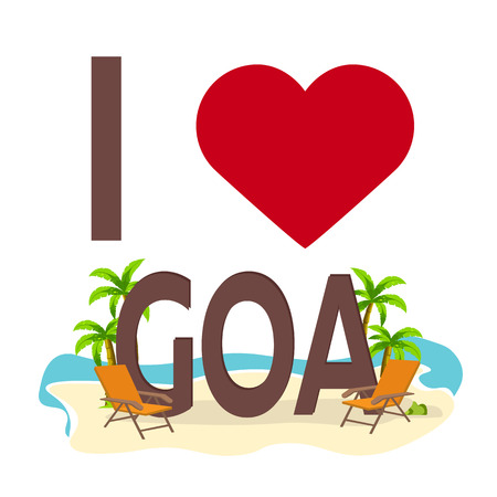 I love Goa, India. Travel. Palm, summer lounge chair Vector flat illustration