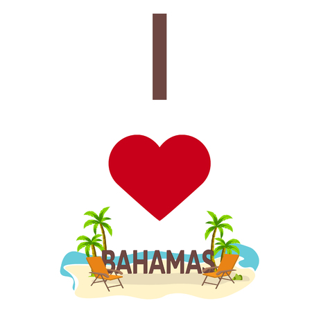 bahama: I love Panamas. Travel. Palm, summer, lounge chair Vector flat illustration Illustration