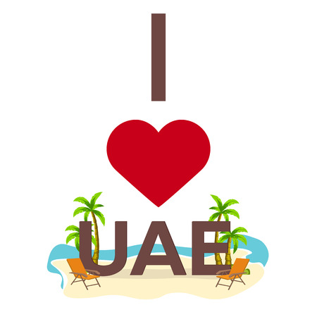 I love UAE. Travel. Palm, summer, lounge chair Vector flat illustration