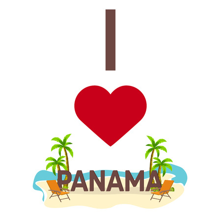 panamanian: I love Panama. Travel. Palm, summer, lounge chair Vector flat illustration