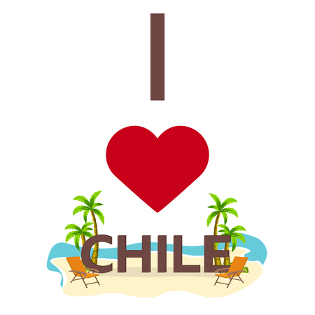 southern: I love Chile. Travel. Palm, summer, lounge chair Vector flat illustration Illustration