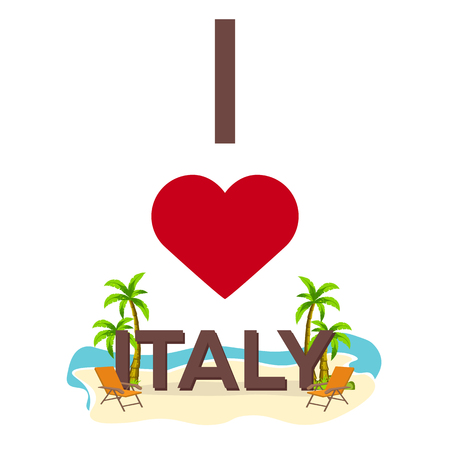 I love Italy. Travel. Palm, summer, lounge chair Vector flat illustration