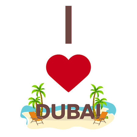 I love Dubai. Travel. Palm, summer, lounge chair Vector flat illustration