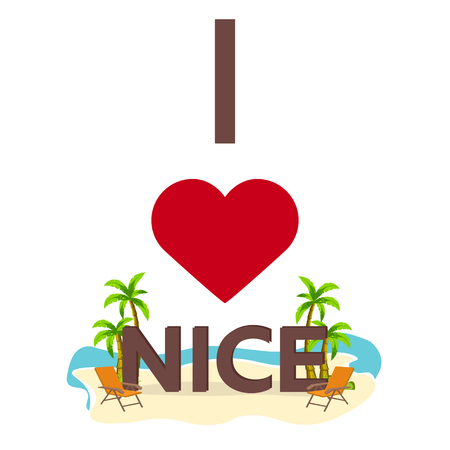 I love Nice. Travel. Palm, summer, lounge chair Vector flat illustration