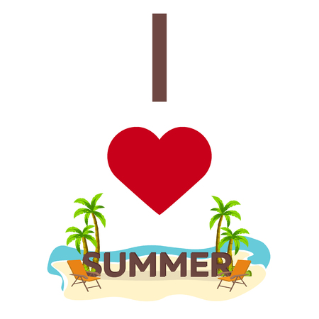 I love Summer. Travel. Palm, summer, lounge chair Vector flat illustration