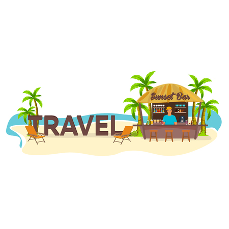 Travel. Palm, drink summer lounge chair tropical Illustration