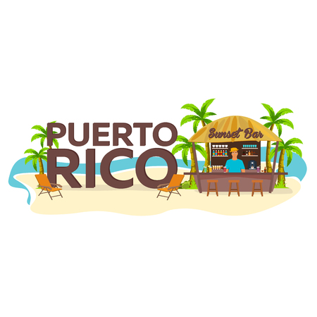 Puerto Rico. Travel. Palm, drink summer lounge chair tropical
