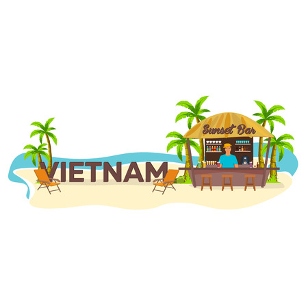 Vietnam. Travel. Palm drink summer lounge chair tropical Illustration