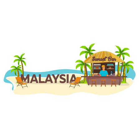 Malaysia. Travel. Palm drink summer lounge chair tropical