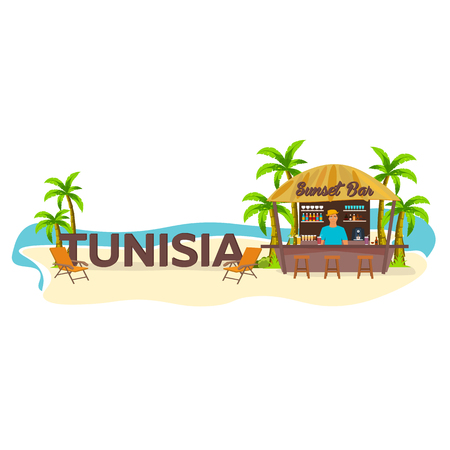 Tunisia. Travel. Palm drink summer lounge chair tropical 일러스트