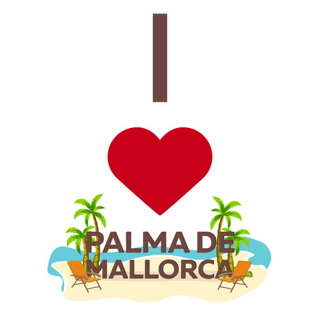 majorca: I love Palma de Mallorca. Travel. Palm, summer, lounge chair. Vector flat illustration