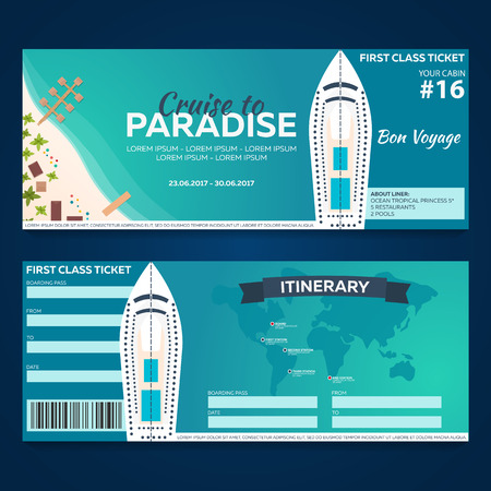 Travel. Cruise to Paradise. Ticket. Cruise liner. Ship Vector flat illustration