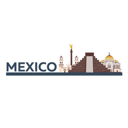 Travel to Mexico. America. Chichen Itza Vector illustration Illustration