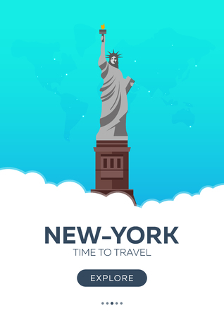 immigrate: USA. New-York. Time to travel. Travel poster. Vector flat illustration Illustration