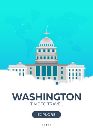 immigrate: USA. Washington. Time to travel. Travel poster Vector flat illustration