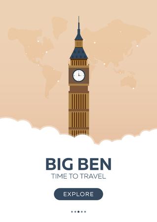 cabina telefonica: Inglaterra. Londres. Gran Ben. Tiempo de viajar Cartel de viaje Ilustración plana de vector