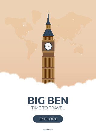 England. London. Big Ben. Time to travel. Travel poster Vector flat illustration Illustration