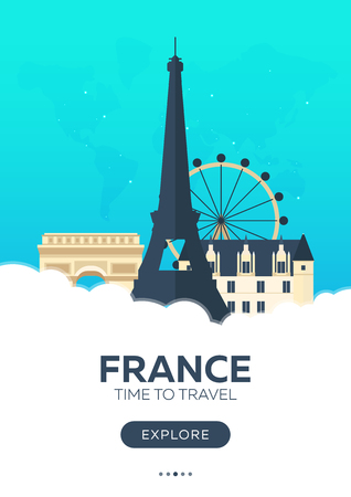 France. Time to travel. Travel poster. Vector flat illustration