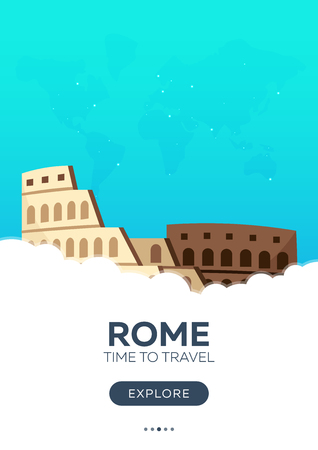 triumphal: Italy. Rome. Time to travel. Travel poster Vector flat illustration Illustration